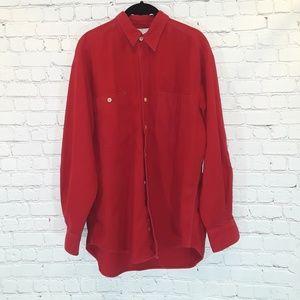 Banana Republic red long sleeve cotton shirt size